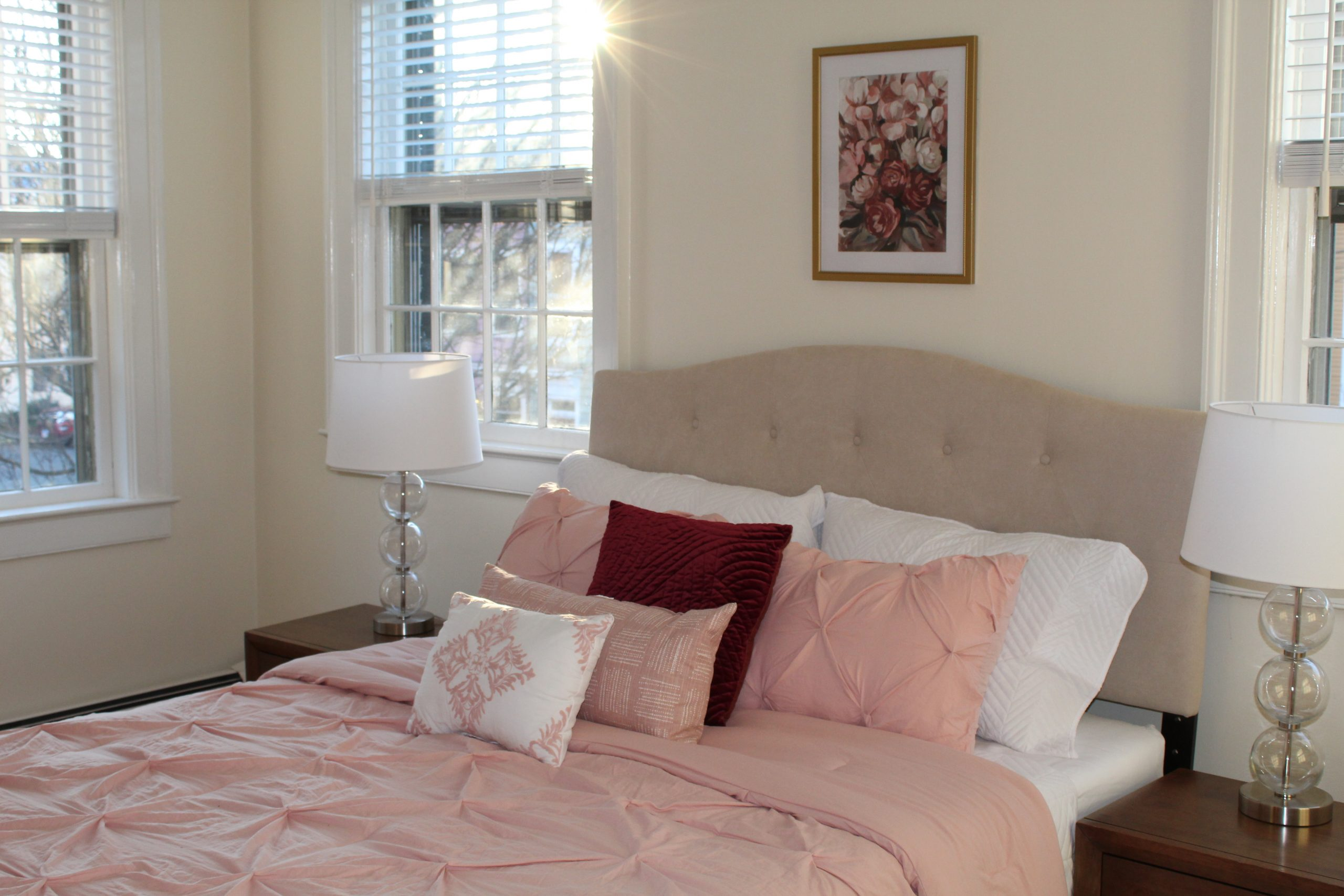 Bedroom of lovely historic row home